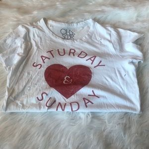 "Chaser ""Saturday & Sunday"" Distressed Graphic Tee"
